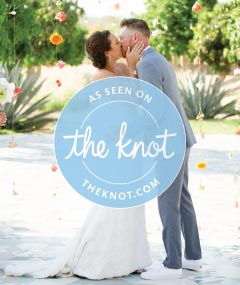 Image of bridal couple with As Seen on The Knot logo