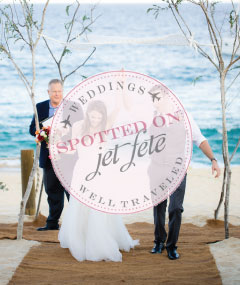 Image of bridal couple with As Spotted on Jet Fete logo