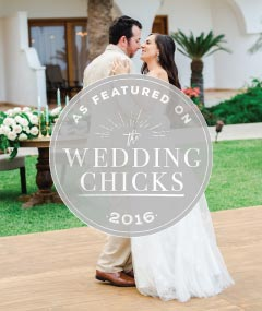 Image of bridal couple with As Featured on Wedding Chicks logo