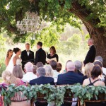 Chandelier garden ceremony decor