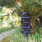 Blue and gold wedding signage