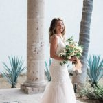 Cabo San Lucas blush garden wedding dress