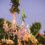 Garden reception with chandeliers