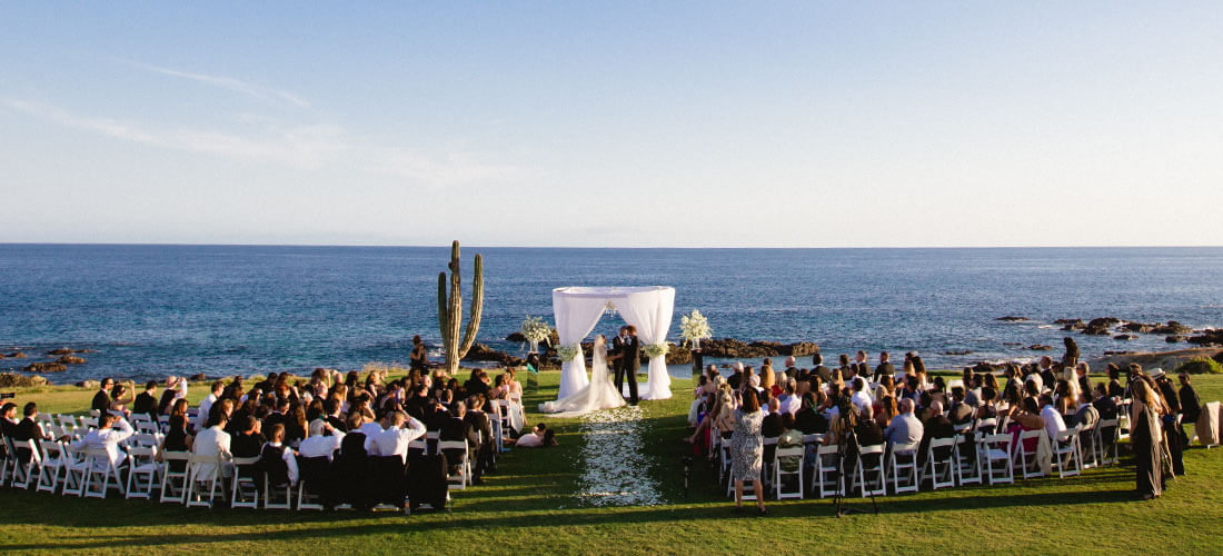 Wedding ceremony with ocean view