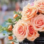 peach-roses-mandarin-oranges-wedding-flowers